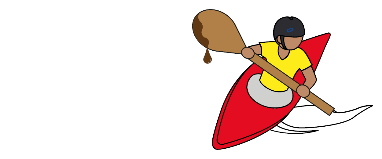 Illustration of a kayaker using a wooden spoon paddle.