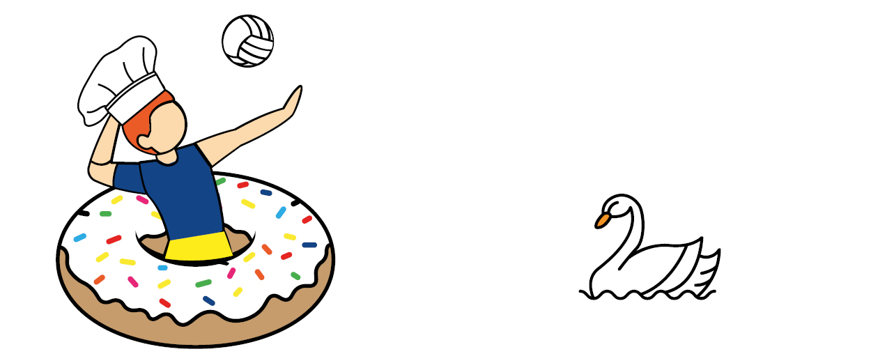 Illustration of a volleyball playing chef and a swan.