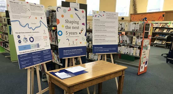 Photo of our pop-up consultation boards in Leith Library.