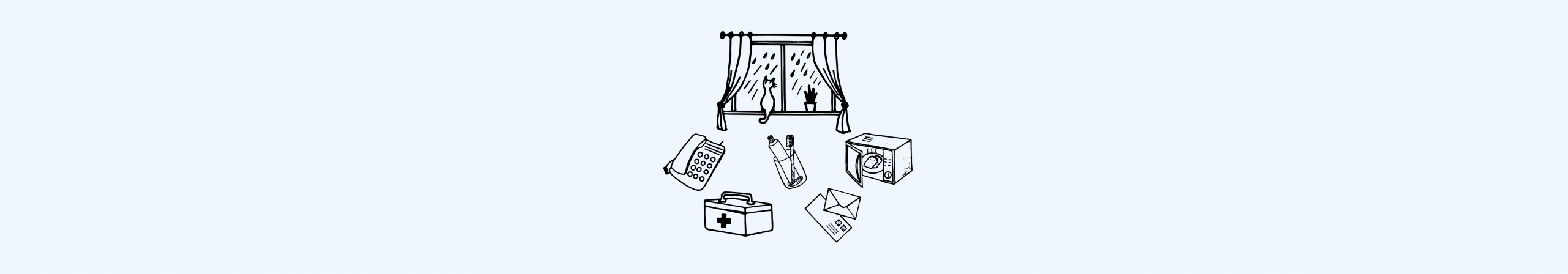 Illustration of health and wellbeing objects.