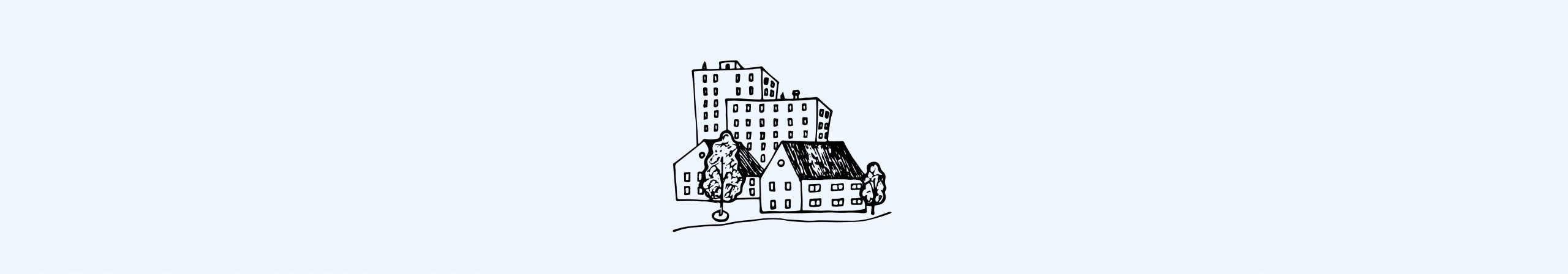 Illustration of buildings and homes.