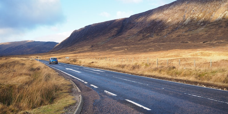 Photo of a road in the Scottish Highlands.