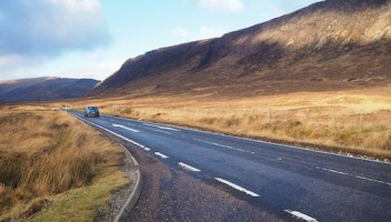 Photo of a road in the Highlands.