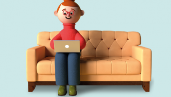 Illustration of a person using a laptop on a couch.